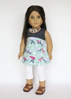 American Girl doll sized tri-city knit dress - blue, mint, lavender, pink, birds, polkadots by EverydayDollwear on Etsy