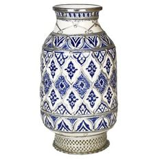Large Hand Painted Moroccan Vase with Silver