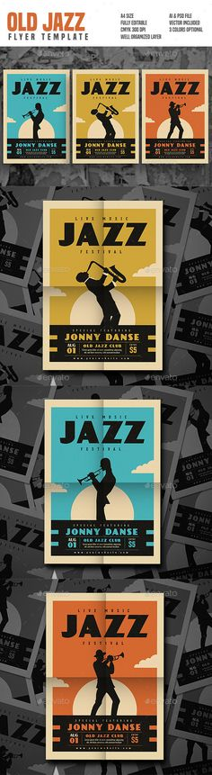 Old Jazz Festival #Flyer Series - Concerts #Events Download here: https://graphicriver.net/item/old-jazz-festival-flyer-series/19546116?ref=alena994