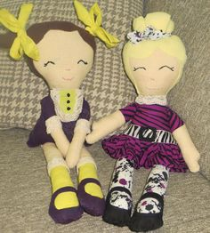A couple of rag dolls I made for my girls. Rag Dolls, My Girl, Couples, Girls, Fabric Dolls, Toddler Girls, Cloth Art Dolls, Daughters, Maids