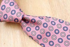 $195+ Turnbull & Asser Pink Navy Beige Circle Ring Pattern mens Silk Tie #TurnbullAsser #NeckTie