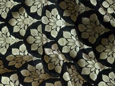 Indian fabric Black Silk Brocade Fabric by the Yard, Wedding Dress fabric, Banarasi Brocade Fabric for Lengha, Banaras Brocade Silk Fabric