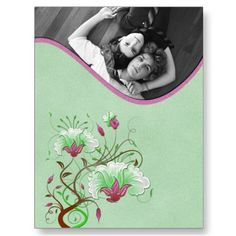 Pink and Green Floral Photo Save The Date
