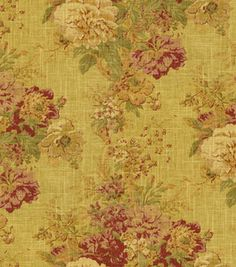 Home Decor Fabric-Waverly Romantic Overtures Ballad Bouquet Tea Stain    # 8600983     reg. 49.99SALE 19.99    60% off 54'' Home Decor Fabrics    --------------------------------------------------------------------------------    55% Linen 45% Rayon. Dry Clean Only. 55'' Wide. Sold in whole Yd. increments. 20 Yd. bolt . Made in Turkey.