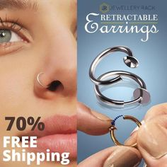 Stainless Steel Retractable Hoop - 2 Pairs / Set of 7 Pairs – SmilingScent Jewelry Rack, Ear Jewelry, Cute Jewelry, Jewellery, Nose Ring Designs, Types Of Ear Piercings, Back Piercings, Female Piercings, Tongue Piercings