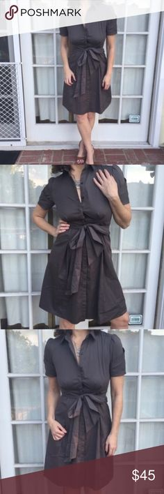 TAHARI DRESS MILITARY FIT & FLARE 4/6 brown gray ELIE TAHARI taupe (brown gray) Military inspired fit and flar dress in sz 4.  (fits a 6 as well). tie belt, cotton and spandex. Quality made garment.  With pleating and fold detailing on sleeve for added interest. (J1) Tahari Dresses Midi