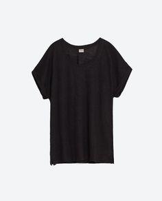 Zara OVERSIZED LINEN T-SHIRT CHARCOAL - R334