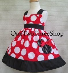 Minnie Mouse dress jumper style dressup vacation girl red by amacim on Etsy https://www.etsy.com/listing/56252292/minnie-mouse-dress-jumper-style-dressup