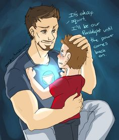 Peter doesn't like the dark    http://crazyk-c.tumblr.com/post/67224146091/peter-doesnt-like-the-dark-but-tony-is-a-human