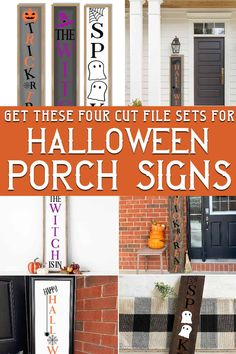 These Halloween porch sign cut file sets for Cricut or Silhouette are so cute! I love the little ghost sign and that fun witch sign? Cute. Grab each of the vertical porch signs for halloween here to make one for your porch today!