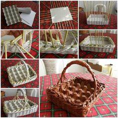 Empezamos con una de nuestras favoritas. Sólo necesitamos un cartón de huevos, los canutillos hechos a base de periódicos y un poco de pintura para montarnos nuestra cesta. Parece de mimbre, pero no lo es.