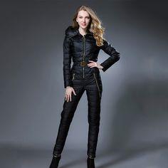 2016 Winter Outwear women down Coat Hooded long design thickening down coat set slim one piece ski suit women's set jumpsuits