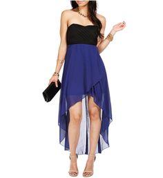 Royal Blue/Black Hi Lo Homecoming Dress