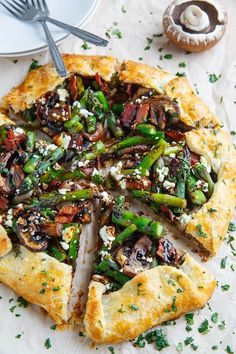 Asparagus and Mushroom Galette with Bacon, Goat Cheese and Balsamic Reduction @FoodBlogs