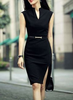 Shop zenpp black slit sheath dress here, find your knee length dresses at dezzal, huge selection and best quality. Business Outfits, Business Attire, Office Outfits, Work Outfits, Casual Office, Office Attire, Office Wear, Business Casual, Sexy Work Outfit