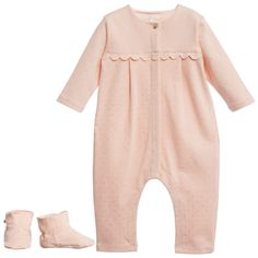 Chloé Baby Girl Pink & Gold Spot Babygrow with Bootees