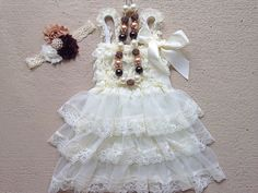 Rustic Ivory Baby Dress Outfit