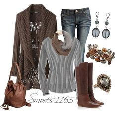 Brown Cardi and Riding Boots :)