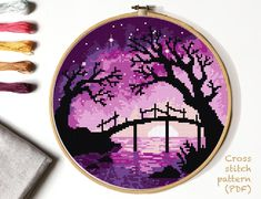 Landscape Cross Stitch Pattern, tree, river counted cross stitch chart, starry sky cross stitch, h Cross Stitch Hoop, Cross Stitch Kits, Cross Stitch Charts, Modern Cross Stitch Patterns, Counted Cross Stitch Patterns, Cross Stitch Designs, Embroidery Hoop Art, Cross Stitch Embroidery, Modele Pixel