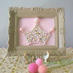 Pearl princess crown art  Mosaic wall art  Pastel by berryisland, $40.00