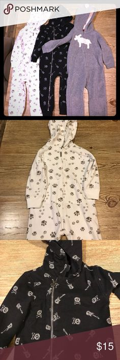 3 toddler one pieces These are in good shape. No stains and no tears. They have actually only been worn once. Carters brand and babies r us One Pieces Bodysuits