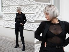 Get this look: http://lb.nu/look/9003954  More looks by MONIKA S: http://lb.nu/mxagnes  Items in this look:  High Waist Belted Pants, Floral Lace Cup Bra, Mesh Blouse, Stretch Fabric High Heel Boots, Leather Mini Clutch, Tuxedo Blazer   #classic #elegant #minimal