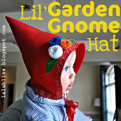 Garden gnome hat with flowers #woodland #party  http://acornpies.blogspot.com/2009/11/how-to-make-gnome-hat-for-young-child.html