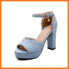 WeiPoot Women's High-Heels Solid Buckle Frosted Open-Toe Sandals, Blue, 37 (*Partner Link)