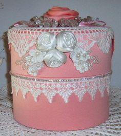 40% de descuento Shabby Chic caja rosa encaje por CissysCrafts