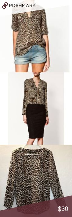 NWOT Zara Woman Animal Leopard Print Button Down NWOT Zara Woman Animal Leopard Print Button Down, size Small. Lovely to dress up or down, gorgeous blouse, always chic. No imperfections. Zara Tops Button Down Shirts