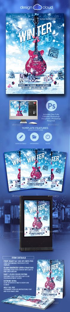 Minimal Christmas Winter Flyer  Minimal Christmas Party Poster