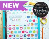 2014-2015 Teacher Planner - Pdf Printable Planner Pages - INSTANT DOWNLOAD - Teaching, Lesson Planner, Lined Dated Calendar, Tabs