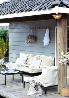 Houses, Outstanding Ways In How To Add A Porch Roof With Scandinavian Porch Designs And Vintage Wooden Wall Also White Outdoor Sofa Table Chair Along With Cushions On Wooden Floor Ideas: Amazing Ideas to Add a Porch to My House Outdoor Rooms, Outdoor Sofa, Outdoor Gardens, Outdoor Living, Outdoor Decor, Outdoor Seating, Outdoor Ideas, Outdoor Fun, Strand Design