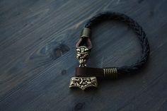 men's bracelet, leather bracelet, Hammer of Thor, leanher & bronze, Accessories for men, bangle, wristband,mens gift