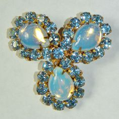 Horseshoe Plaque Signed Miriam Haskell Opalescent Glass Rhinestone Brooch