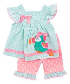 Look at this #zulilyfind! Pink & Mint Seersucker Parrot Tunic & Leggings - Toddler by Rare Editions #zulilyfinds