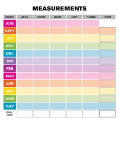 Weight Loss Monthly Measurement Chart