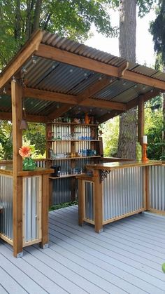 We think everyone needs a beautiful bar in their backyard. Great use of…