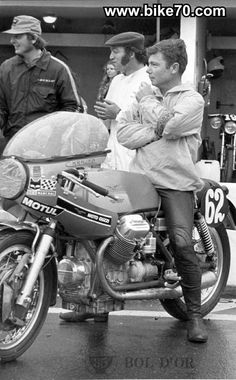 supposedly a moto guzzi v7 sport 750 at the  bol d'or 1971 Bugatti circuit Le mans no:62 is listed as bike of Jean-Claude Costeux and Daniel Rouge who finished 25th but caption on original source says this is Charles Krajka and his name is on the fairing.