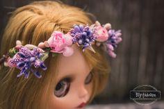 Diadema corona tiara flores para Blythe por BlythWen en Etsy
