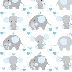 Best Seamless Pattern With Cute Baby Elephants And Hearts In 400 x 300