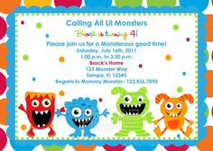 Adorable Monster Birthday Invitations by CustomParty4U on Etsy, $20.00