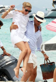 Olivia Palermo and husband Johannes Huebl arriving on the island of Formentera 30 July 2015