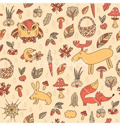 Autumn seamless pattern vector by piyacler on VectorStock®