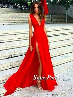 Glamorous V Neck Red Prom Dresses, Red Formal Dresses, Red Evening Dresses #shinyparty #prom #dress #formal #dresses #vneck #red #eveningdress #prom2017 #promdress #formaldress #vneckdress #glamorous #fashion #reddress