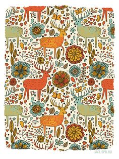 pattern warm deer stag floral