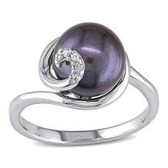 Miadora Sterling Silver Black FW Pearl Ring (9-10 mm) (Size 0.7), Women's, Size: 6.25, Purple