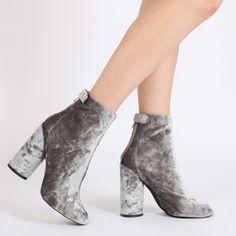 Lia Round Heel Ankle Boots in Grey Velvet