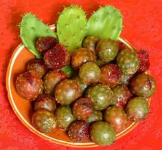 Tunas Mexicanas congelelas o coma con chile y limon. Mexican cactus pear eat frozen or sprinkled with chilli powder and lemon