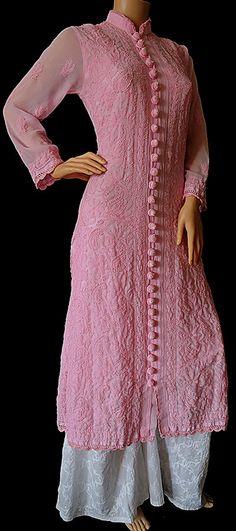 ISHIEQA's Hand Embroidered Designer Pink Georgette Chikankari Kurti - DC0901B